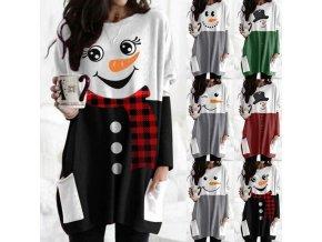 Zimné zateplené šaty s dlhým rukávom a potlačou snehuliaka