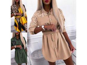Košeľové šaty s gombíkmi a opaskom na zaväzovanie - až 3XL