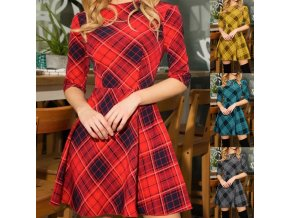 Dámske jesenné kockované šaty s 3/4 rukávom - viac farieb