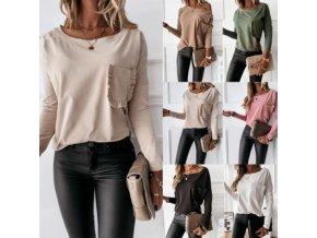 Elegantné dámske tričko s dlhým rukávom zdobené vreckom - viac farieb