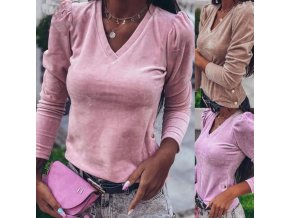 Dámske elegantné semišové tričko s výstrihom do v zdobené gombíkmi