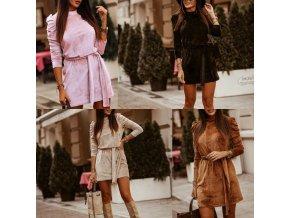Módny hit - dámske zamatové šaty s dlhým rukávom a sťahovacím pásikom