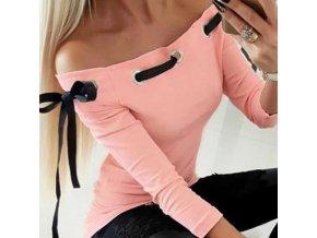 Ružové tričko s odhalenými ramenami zdobený mašľu na zaväzovanie