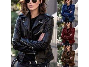 Dámska koženková bunda v štýle krivák s detailmi v striebornej farbe - až 5XL