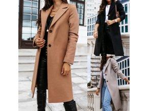 Dámsky jesenné dlhý elegantný kabát s gombíkmi - až 3XL