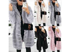 Dámsky zimný plyšový kabát s kapucňou z príjemného materiálu - až 4XL