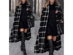 Zimný elegantný kockovaný kabát z vlneného materiálu - veľmi teplý