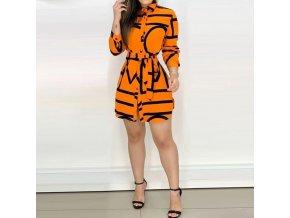 Dámske košeľové šaty v oranžovej farbe na zaväzovanie s dlhým rukávom