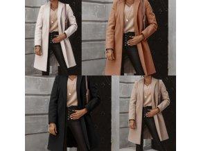 Dámsky vlnený jesenné kabát s jedným gombíkom - až 3XL