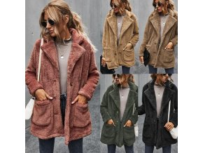 Dámsky módne chlpatá kabát s vreckami a gombíky