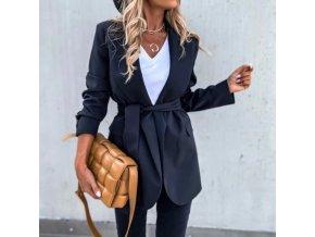 Dámske dlhšie elegantné sako v čiernej farbe na zaväzovanie