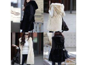 Dámska chlpatá dlhšia vesta s kapucňou vhodná do zimy - až 5XL