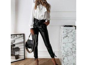 Elegantné koženkové nohavice s vysokým pásom na zaväzovanie