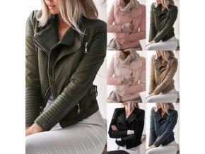 Dámska koženková bunda krivák zdobená zipsy - viac farieb až 3XL