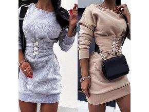Sexy mikinové šaty s dlhým rukávom so stiahnutým pásom