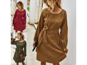 Dámske jesenné semišové šaty na zaväzovanie