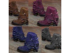 Dámske členkové topánky na podpätku zdobené páskami vo viacerých veľkostiach