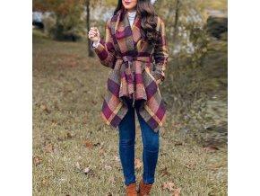 Dámska kockovaný kabát v jesenných farbách na zaväzovanie - až 3XL