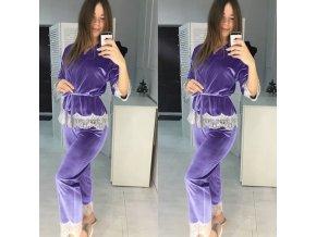 Dámske semišové pyžamo s dlhými nohavice zdobené čipkou