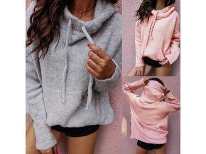 Ležérny teplý dámsky sveter s vreckom a kapucňou