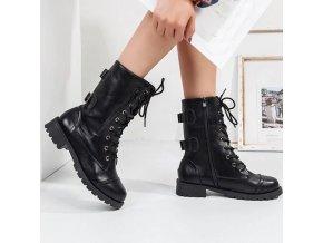 Dámske kovbojské čierne čižmy na zimu s remienkami - viac veľkostí