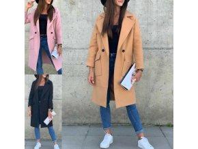 Dámsky dlhý elegantný kabát vhodný na zimu s vreckami a klopy