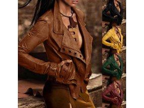 Dámska koženková elegantná bunda s krásnym zdobením - až 5XL