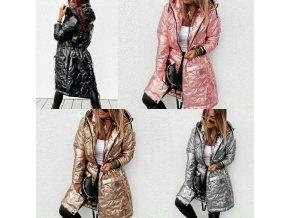Dámsky dlhý zimný lesklý kabát s kapucňou - až 5XL