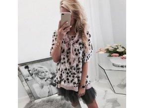 Dámsky dlhší voľný sveter s leopardím vzorom