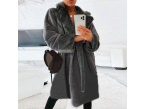 Dámske zimné módne šedivý kabát s kožušinou