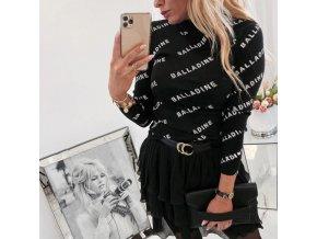 Tričko s dlhým rukávom a nápisom balladine v bielej a čiernej farbe