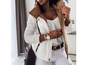 Dámska zimná bunda v bielej farbe s hnedou podšívkou