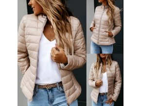TIP - dámska jesenná bunda v béžovej farbe s vreckami
