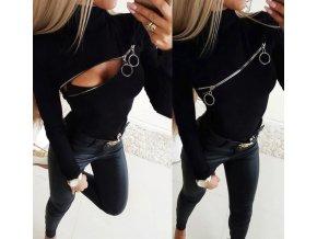 Dámske čierne FASHION tričko s dlhým rukávom a zipsom