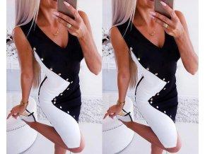Dámske luxusné upnuté čiernobiele šaty zdobené cvočkami