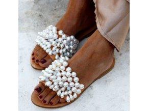 TIP - krásne letné šľapky zdobené perličkami - viac veľkostí