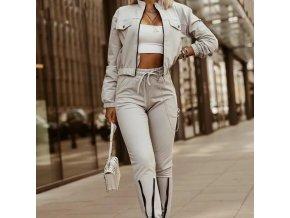 Dámsky módny set v šedej farbe nohavice + bunda