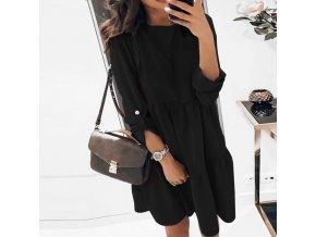 TIP - jarné šaty s dlhým rukávom z príjemného materiálu v čiernej a červenej farbe