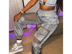 NEW - dámske štýlové nohavice v striebornej farbe s vreckami