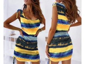 Farebné letné šaty so sťahovacími šnúrkami