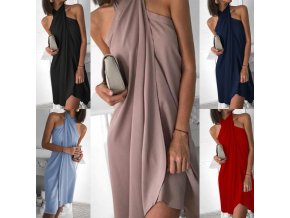 Dámske spoločenské zaujímavo riešené šaty - viac farieb