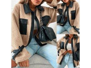 Dámska módna bunda v béžovej farbe s koženkovými detailmi