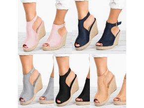 Dámske letné módne topánky na slamové platforme vo viacerých farbách