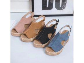 Dámske letné sandále na platforme s opaskom