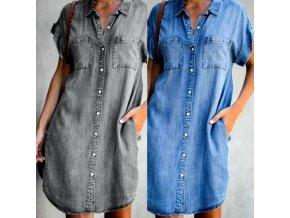 Dámske košeľové šaty v džínsovom štýle s gombíkmi