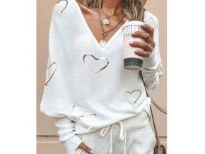 Dámsky ľahký sveter s výstrihom a potlačou srdiečok