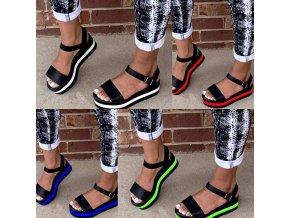Dámske letné čierne sandále s farebným pruhom