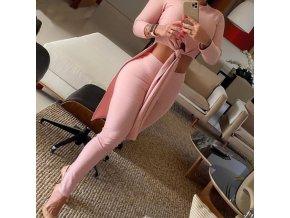 Dámske módne set v ružovej farbe legíny + dlhé tričko