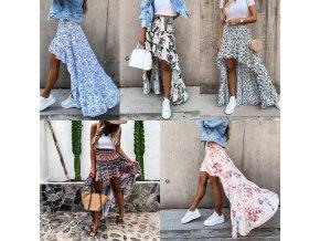 Dámska vzdušná zaujímavo riešená sukňa s kvetinovými vzormi