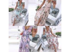 Dámske dlhé letné šaty s výstrihom v kvetinovom vzore